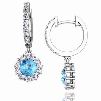 Halo Diamond and Blue Topaz Hoop Earrings in 14k Gold, 5mm