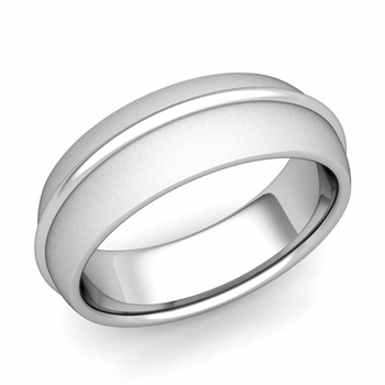 Circle Comfort Fit Wedding Band Ring in Platinum, Satin Finish, 7mm