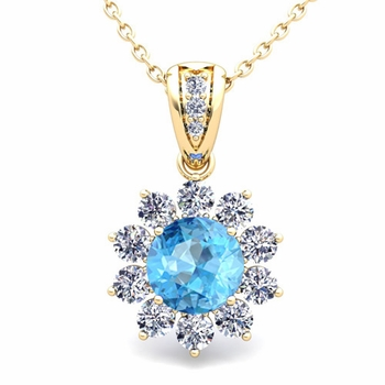 Halo Diamond and Blue Topaz Pendant in 18k Gold Necklace 6mm