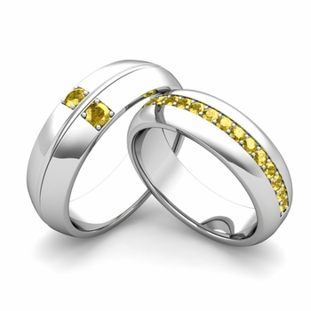 Matching Wedding Ring Set: Yellow Sapphire Comfort Fit Wedding Band in 14k Gold