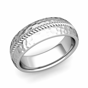 Cable Comfort Fit Wedding Band Ring in Platinum, Hammered Finish, 7mm