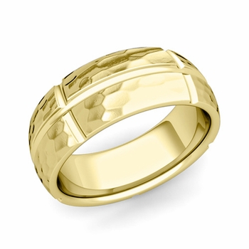 Brick Comfort Fit Wedding Band Ring in 18k Gold, Hammered Finish, 8mm