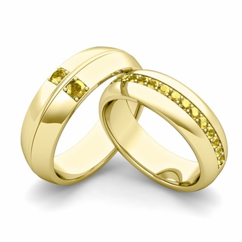 Matching Wedding Ring Set: Yellow Sapphire Comfort Fit Wedding Band in 18k Gold