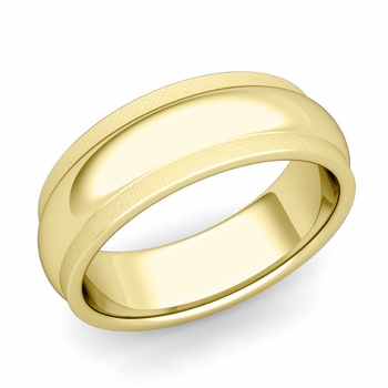 Dome Comfort Fit Wedding Band in 18k Gold Mixed Brushed Finish Ring, 7mm