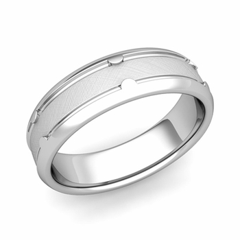 Unique Comfort Fit Wedding Band in Platinum Mixed Brushed Finish Ring, 6mm