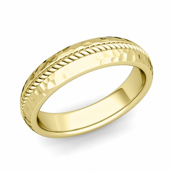 Cable Comfort Fit Wedding Band Ring in 18k Gold, Hammered Finish, 5mm