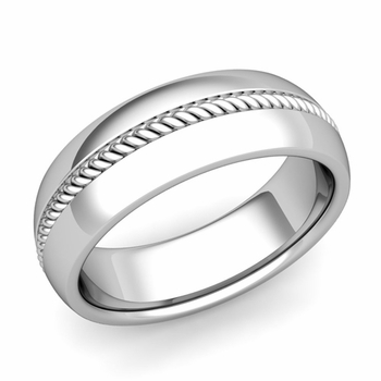 Cable Comfort Fit Wedding Band Ring in Platinum, Polished Finish, 7mm