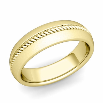 Cable Comfort Fit Wedding Band Ring in 18k Gold, Satin Finish, 6mm
