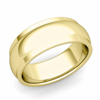 Dome Comfort Fit Wedding Band in 18k Gold Polished Finish Ring, 8mm