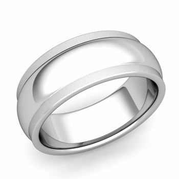 Dome Comfort Fit Wedding Band in Platinum Satin Matte Finish Ring, 8mm