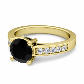 Pave Diamond and Solitaire Black Diamond Engagement Ring in 18k Gold, 6mm