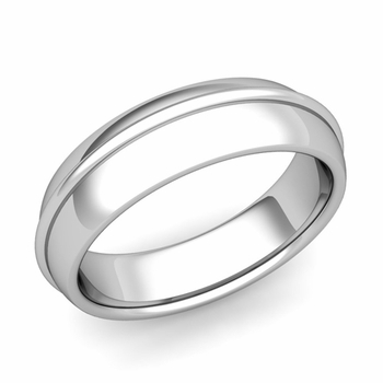 Circle Comfort Fit Wedding Band Ring in Platinum, Polished Finish, 6mm