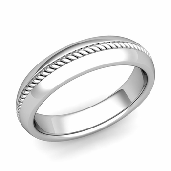 Cable Comfort Fit Wedding Band Ring in Platinum, Polished Finish, 5mm