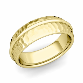 Circle Comfort Fit Wedding Band Ring in 18k Gold, Hammered Finish, 7mm