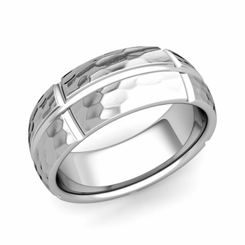 Brick Comfort Fit Wedding Band Ring in Platinum, Hammered Finish, 8mm