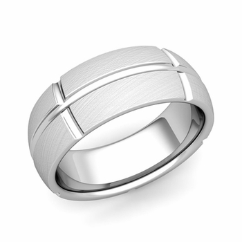 Brick Comfort Fit Wedding Band Ring in Platinum, Mixed Brushed Finish, 8mm