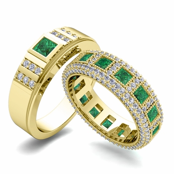 Matching Wedding Band in 18k Gold Princess Cut Emerald and Diamond Ring