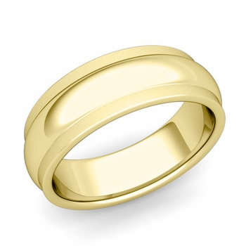 Dome Comfort Fit Wedding Band in 18k Gold Satin Matte Finish Ring, 7mm