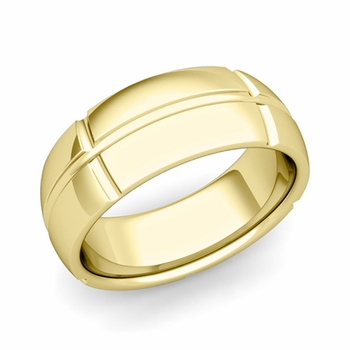 Brick Comfort Fit Wedding Band Ring in 18k Gold, Polished Finish, 8mm