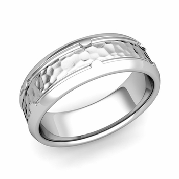 Unique Comfort Fit Wedding Band in Platinum Hammered Finish Ring, 7mm