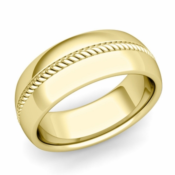 Cable Comfort Fit Wedding Band Ring in 18k Gold, Polished Finish, 8mm