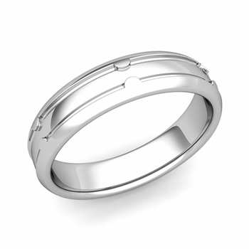 Unique Comfort Fit Wedding Band in Platinum Polished Finish Ring, 5mm