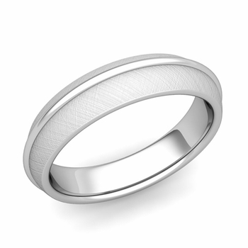 Circle Comfort Fit Wedding Band Ring in Platinum, Mixed Brushed Finish, 5mm