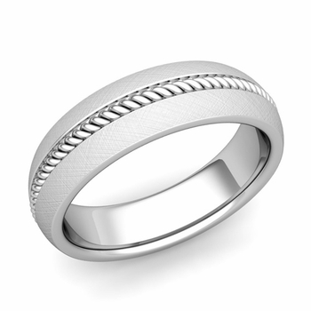 Cable Comfort Fit Wedding Band Ring in Platinum, Mixed Brushed Finish, 6mm