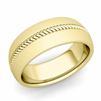 Cable Comfort Fit Wedding Band Ring in 18k Gold, Mixed Brushed Finish, 8mm