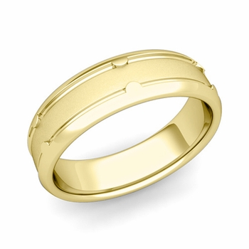 Unique Comfort Fit Wedding Band in 18k Gold Satin Matte Finish Ring, 6mm