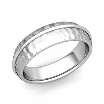 Circle Comfort Fit Wedding Band Ring in Platinum, Hammered Finish, 6mm
