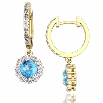 Halo Diamond and Blue Topaz Hoop Earrings in 18k Gold, 5mm