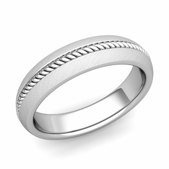 Cable Comfort Fit Wedding Band Ring in Platinum, Mixed Brushed Finish, 5mm