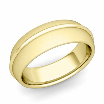Circle Comfort Fit Wedding Band Ring in 18k Gold, Satin Finish, 7mm