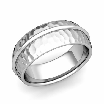 Circle Comfort Fit Wedding Band Ring in Platinum, Hammered Finish, 8mm