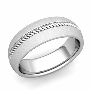 Cable Comfort Fit Wedding Band Ring in Platinum, Mixed Brushed Finish, 7mm