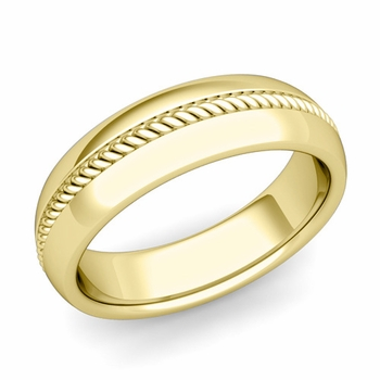 Cable Comfort Fit Wedding Band Ring in 18k Gold, Polished Finish, 6mm