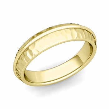 Circle Comfort Fit Wedding Band Ring in 18k Gold, Hammered Finish, 5mm