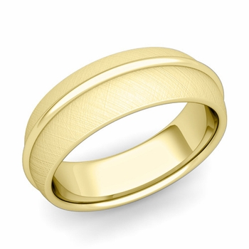 Circle Comfort Fit Wedding Band Ring in 18k Gold, Mixed Brushed Finish, 7mm