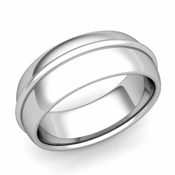 Circle Comfort Fit Wedding Band Ring in Platinum, Polished Finish, 8mm