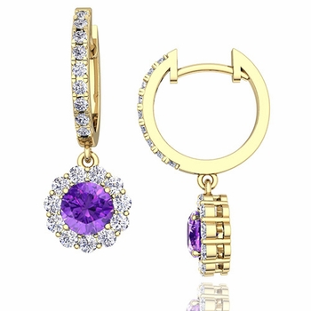 Halo Diamond and Amethyst Hoop Earrings in 18k Gold, 5mm
