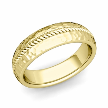 Cable Comfort Fit Wedding Band Ring in 18k Gold, Hammered Finish, 6mm