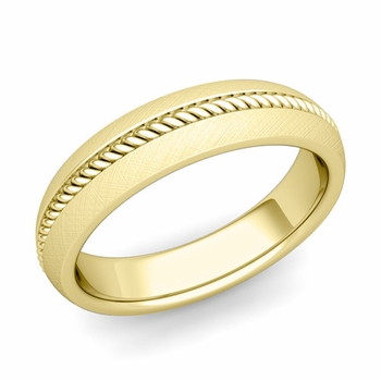 Cable Comfort Fit Wedding Band Ring in 18k Gold, Mixed Brushed Finish, 5mm