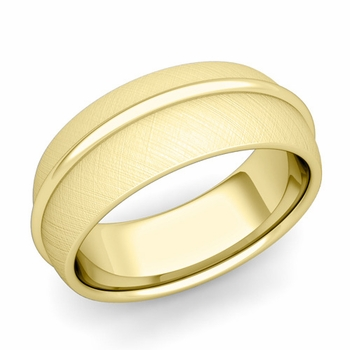 Circle Comfort Fit Wedding Band Ring in 18k Gold, Mixed Brushed Finish, 8mm