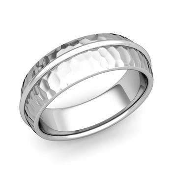 Circle Comfort Fit Wedding Band Ring in Platinum, Hammered Finish, 7mm