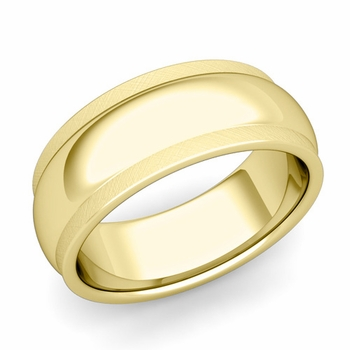 Dome Comfort Fit Wedding Band in 18k Gold Mixed Brushed Finish Ring, 8mm