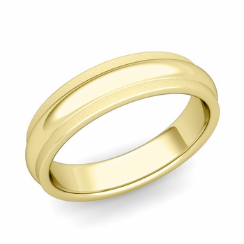 Dome Comfort Fit Wedding Band in 18k Gold Mixed Brushed Finish Ring, 5mm