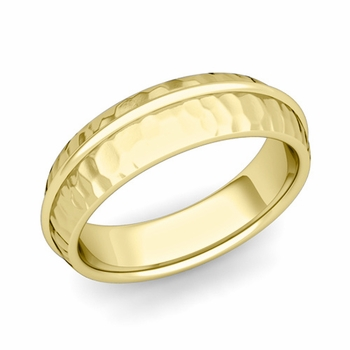 Circle Comfort Fit Wedding Band Ring in 18k Gold, Hammered Finish, 6mm