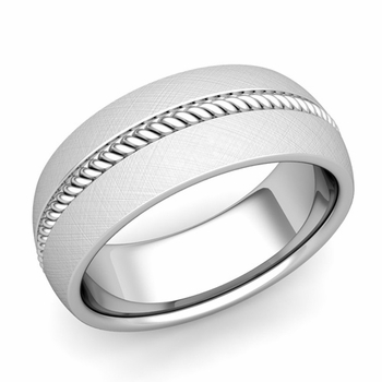 Cable Comfort Fit Wedding Band Ring in Platinum, Mixed Brushed Finish, 8mm