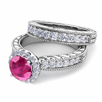 Vintage Inspired Diamond and Pink Sapphire Engagement Ring Bridal Set in 14k Gold, 7mm